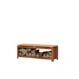 Cortenstaal houtopslag met zitfunctie - L120xD40xH43 cm