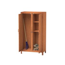 Cortenstaal houtopslag met afsluitbare deuren - L100xD50xH180 cm