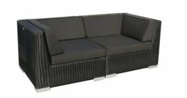 2-delige wicker Loungebank 'Pamplona' zwart - rond vlechtwerk
