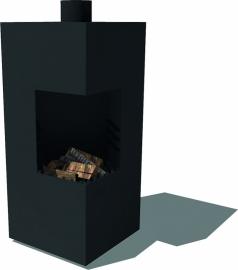 Tuinkachel/BBQ Arvi matzwart L50xD50xH100 cm
