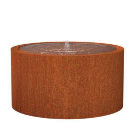 Cortenstaal watertafel rond 'Vanna' Ø145xH75 cm incl. 1 x fontein & ledverlichting