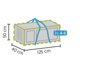 Opbergtas Loungekussens `Budget` Kleur: antraciet grijs, afmetingen 125x40x50 cm