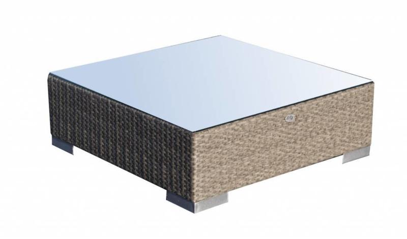 wicker tafel 'Pamplona' grijs geborsteld - plat vlechtwerk