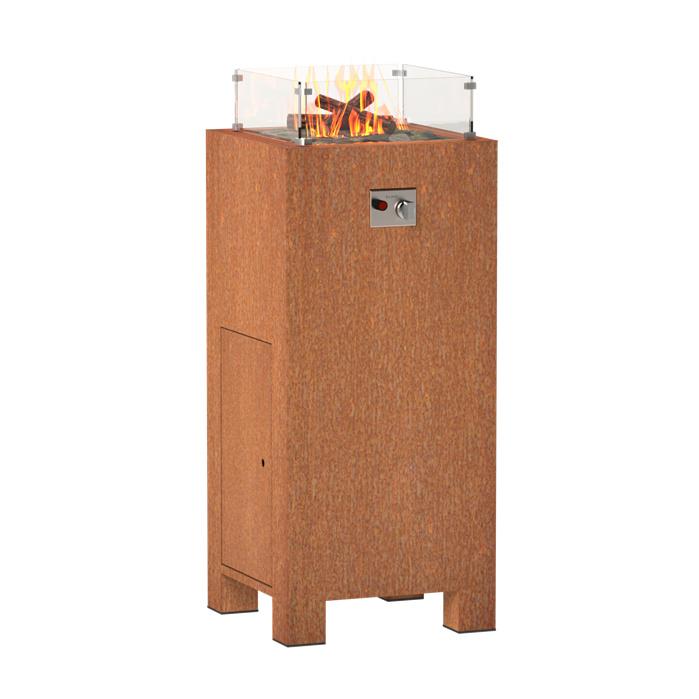 Cortenstaal design gasbrander  55x55x120 cm