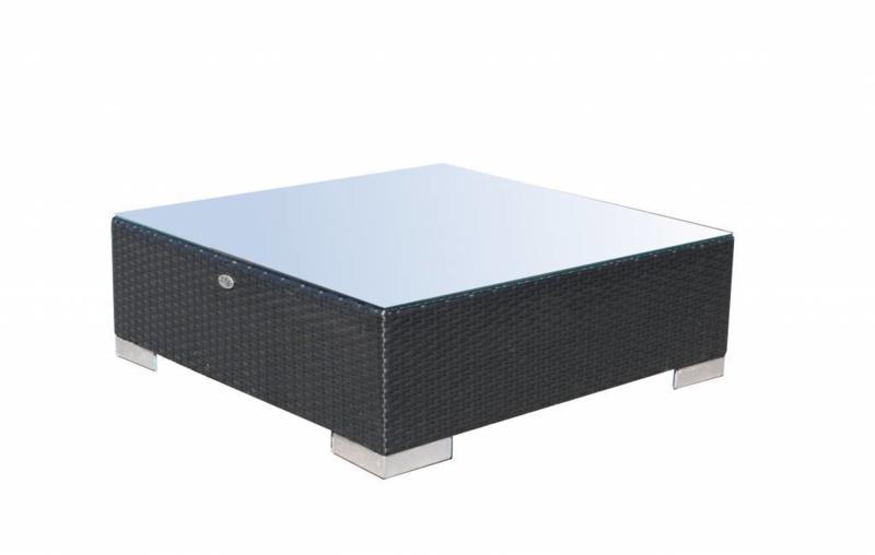 wicker tafel 'Pamplona' zwart - plat vlechtwerk