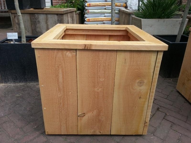 Hardhouten Tuintafel Vierkant.Douglas Houten Plantenbak Op Wielen 60x60x50cm Plantenbakken