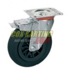 Zwenkwiel voor pitkar (kartwagen) 125x37,5x55 met rem
