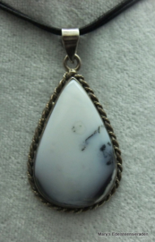 Dendriet Opaal hanger in zilver, druppel (Nr 2).