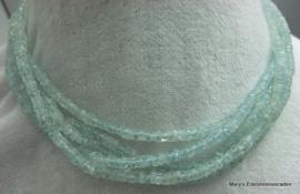 Aquamarijn ketting 4 mm plakjes ex F154 (per1)