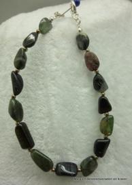 Toermalijn trommelsteen armband zwart+groenvv