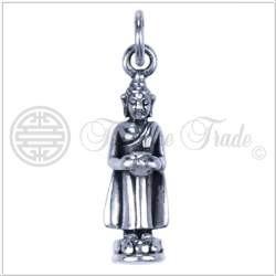 Zilveren hanger staande Boeddha**