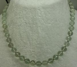 Prasioliet ketting facet 10 mm met zilver*