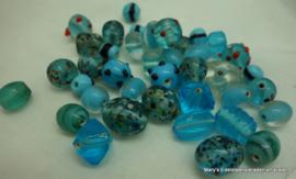 Glazen kralen blauw 50 gram