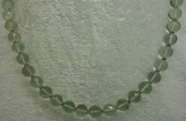 Prasioliet ketting facet 10 mm met zilver.