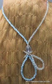 Aquamarijn ketting 4 mm + facet Bergkristal.