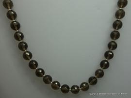 Rookkwarts ketting facet 10  mm met zilver.*
