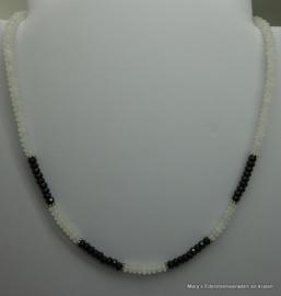 Zwarte Spinelketting facet 4 mm met  Witte Jade (nr2)