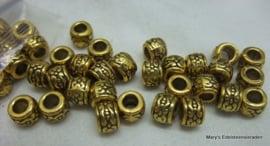 Bronskleurige kralen 6x7 mm (per 5 stuks)