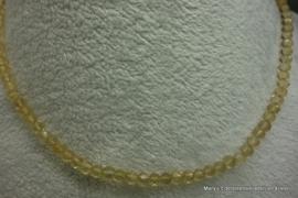 Citrien ketting van 4+ mm facet ronde kralen*