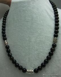 Gouden Regenboog Obsidiaan ketting  10 mm met zilver.