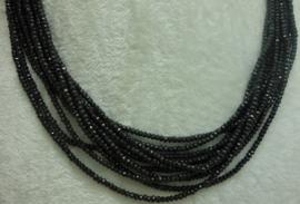 Zwart Spinelsnoer facet rondellen 2 x 3 mm F63)
