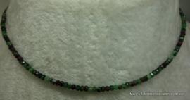 Robijn in Zoisiet ketting facet rondel 2x3 mm