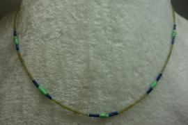Geel Jade kettinkje 1,5 mm+Lapis+Turkoois(3 mm)