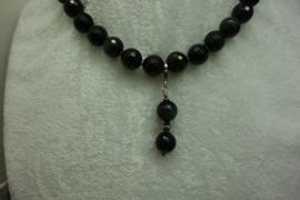 Goud-Obsidiaan ketting facet 12 mm met hanger.