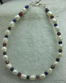Parel armband met Granaat, Lapis Lazuli en zilver