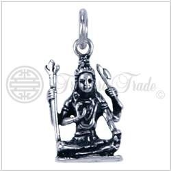 Zilveren hanger Shiva zittend*