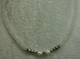RB Maansteen ketting met zilver+parels.