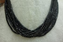 Zwart Spinelsnoer facet rondellen 3 x 4 mm Nr51)