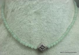 Amazoniet ketting 4 mm met zilver (1).