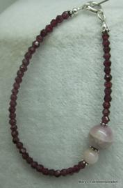 Granaat armband facet 3 mm met Morganiet+zilver**.