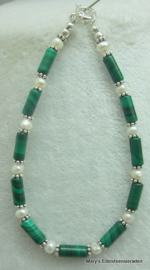 Malachiet armband met parels en zilver (nr1).