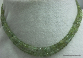 Toermalijn snoer groen facet button 3-5,5-3 mm F27a*