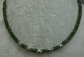 Groene Toermalijn ketting facet rondel 5-5,5 mm..