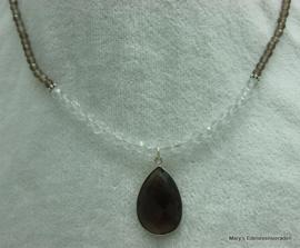 Rookkwarts+Bergkristal facet ketting met hanger