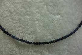 Blauwe Saffier ketting facet rondellen schaduw 2 mm.