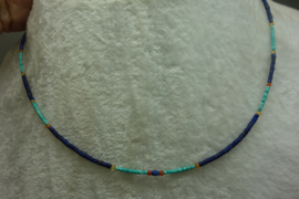 Kettinkje Lapis Lazuli 2 mm en Turkoois 1 ,5 mm