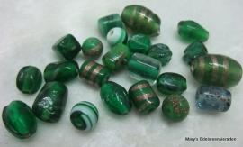 Glazen kralen groen 50 gram