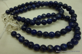 Lapis lazuli armband rond 6 mm+zilv.sluiting.