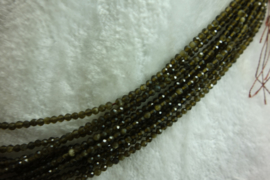 Gouden Regenboog Obsidiaan snoer facet 2 mm (B81)