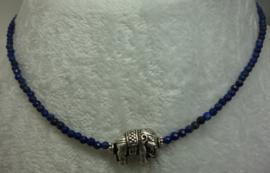 Lapis Lazuli ketting facet 3 mm + zilv. olifant.
