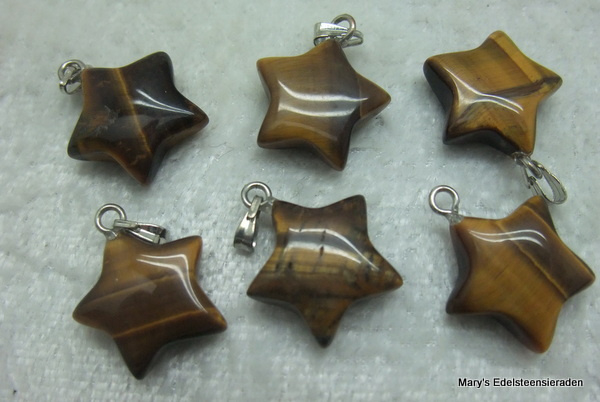 Tijgeroog hangertje ster (3 stuks)