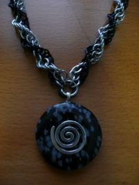 chainmaille inverted spiral ketting met donuthanger (01kt908)