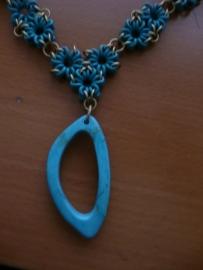 link it round triangel ketting met fantasie hanger (01kt903)