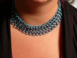 dubbele european 4 in 1 chainmaille ketting aluminium met rubber (01kt011)