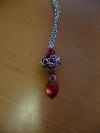 chainmaille lotus hanger aan ketting (01kt025)