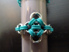japanese star ring turquoise-zilver